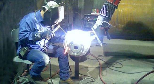Micro Air TM1000 captures weld smoke and fumes, reducing hexavalent chromium to below OSHA PEL limits.