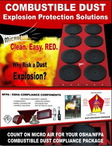 Count on Micro Air for you OSHA - NFPA coCombustible Dust Compliance Package.