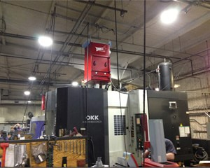 Micro Air's MM800 machine mounted, high-efficiency mist collector captures coolant mist generated in machining process, while, equipped with MISTMAXMISTMAX® cartridge filters,