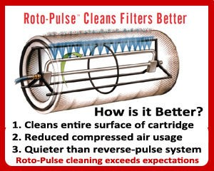 Micro Air's Roto-Pulse® Cartridge Cleaning System cleans the entire surface area of the cartridge, uses less compressed air to do so, and is a markedly quieter cleaning system