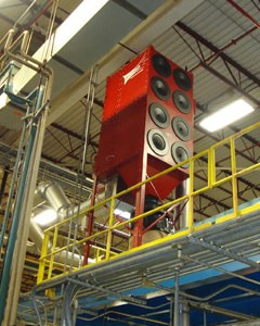 Micro Air RP8 is installed on mezzanine and ducted to multiple welding operations.